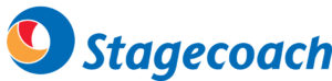 Stagecoach Buses logo - blue, orange and red circle with the word 'Stagecoach' written in blue next to it