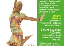 Promotional image for Pulsate Afro-Caribbean dance. Photo of a woman wearing a colourful printed matching skirt, top and hat jumping up in the air.
