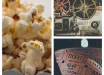 Promo image for Family Cinema Club. Collage image of popcorn, an old-style projector and old-fashioned paper tickets