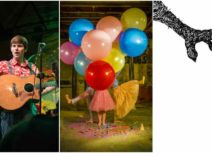 3 images side by side. First is a Photo of a young man with short brown hair wearing a red and white patterned shirt holding a puppet and a guitar. The second picture is of three people holding large red, yellow, green, pink and blue balloons, only their legs are visible. The third picture is of a man wearing dark trousers and a black and white stripy top pointing up at a large monster's claw on a white background.