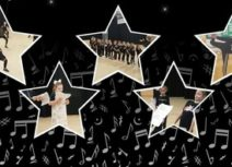 Star shaped images of children doing theatre activities on a black background with white musical notes.