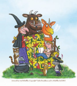 Artwork by Axel Schaeffer of Julia Donaldson characters including Zog, The Gruffalo, Stick Man, and the witch from 'Room on the Broom'