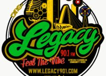 Log for Legacy 90.1 FM. Legacy in green writing on a black background