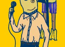 Promotional image for Haphazard. A cartoon image of a person with the head of a fish holding a microphone on a yellow background.