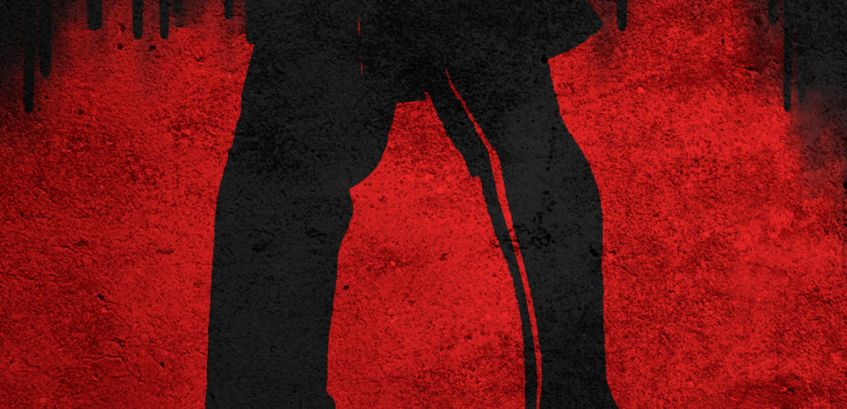 "Promotional image for ""Romeo and Juliet - Mad Blood Stirring'. It has a red and black background and shows the legs of a man and woman with their feet facing each other, the woman's feet are on tiptoe as if she is reaching up for a kiss"
