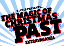 The Magic Of Christmas Past Extravaganza - black text on a blue and white striped background