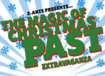 Magic of Christmas Past Extravaganza, green and red text on a blue stripey background with a border of holly leaves