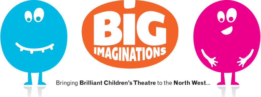Orange oval-shaped Big Imaginations logo, with two round figures either side who have big faces - one is blue and one is pink