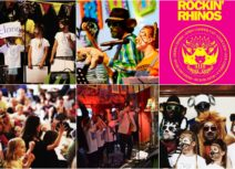 Collage photo of Rockin' Rhinos band performing live concerts