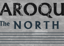 Baroque in the North logo, black font in capital letters on a grey background, five black lines are beneath the text