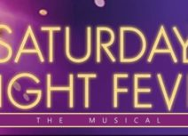 Promotional image for saturday night fever,'Saturday Night Fever' written in gold text on a purple background