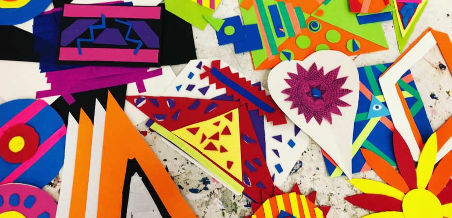 Lead image for Mix It Up project. Variety of colourful artwork photographed from above