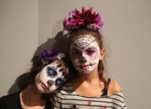 Two Girls in Day of the Dead costume