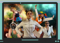 Image of futuristic women against a space backdrop